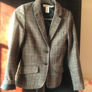 H&M plaid blazer with brown patches on the elbows